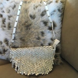 Handbags - White leather Rhinestone Fringe Crossbody Bag